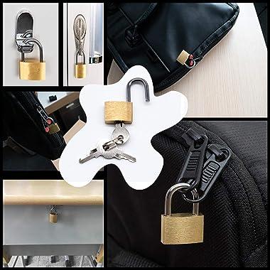 OBPSFY Mini Padlock with Keys,12 Pieces Luggage Locks Small Padlock Metal Brass Padlocks for Luggage/Backpack/Diary/Jewelry B