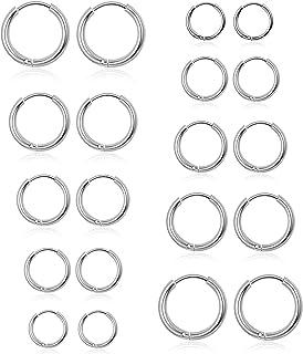 10 Pairs Small Hoop Earrings for Women Girls Lightweight Click-Top Surgical Steel Silver Hoop Earrings Cute Endless Hypoal...