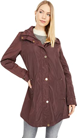 Rouched Sleeve Packable Rain Anorak Jacket