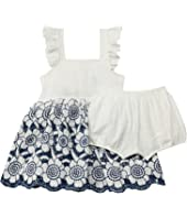 Eyelet Embroidered Two-Piece Dress (Infant/Toddler)
