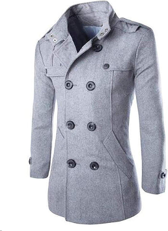 Fashion Men 'S Autumn Winter Coat Turn Down Collar Wool Blend Men Pea Coat Double Breasted Winter Overcoat