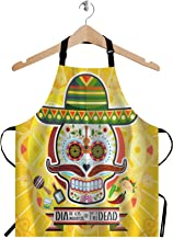 WONDERTIFY Cartoon Skull Apron,Dia De Los Muertos Day of The Dead Skull Bib Apron with Adjustable Neck for Men Women,Suitable for Home Kitchen Cooking Waitress Chef Grill Bistro Baking BBQ Apron