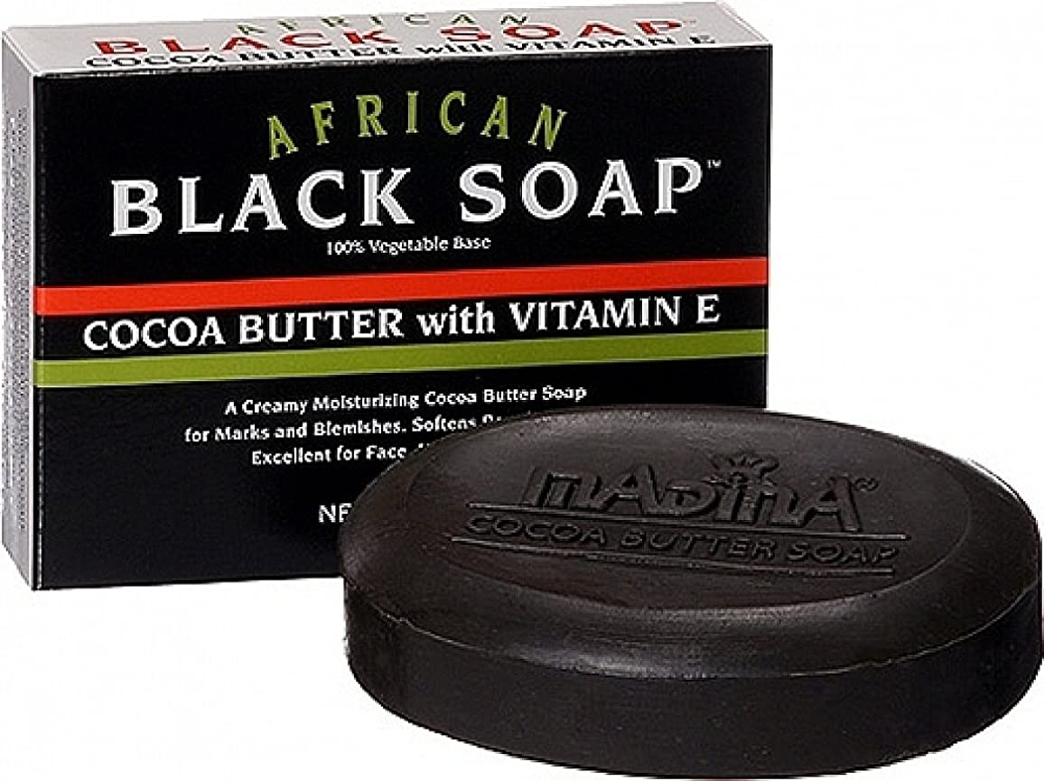 フロント広大なヤングmadina ビタミンE、3.5オズ(2パック)でアフリカの黒人ソープココアバター 2パック
