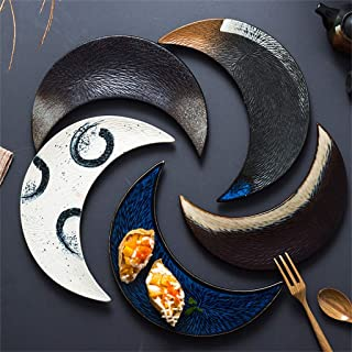 Crescent-shaped Plates Set of 5, Environmentally Friendly Ceramics, Kiln Glaze Process, Rich in Color, Suitable for Sushi, Dessert, Sashimi, Creative Tableware