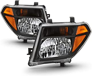 Fits 2005-2008 Frontier 2005-2007 Pathfinder [Halogen Models] Black Headlights Replacement Left + Right Pair