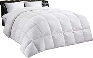 Allrange Luxury White Down Comforter, 100% Cotton, 600 Fill Power, Box Quilted Duvet with Corner Tabs, 300 Thread Count, Down Proof Shell, Soft Comfortable Quilt, Machine Washable, F/Q Size