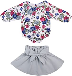 GSHOOTS Baby Girls' 2 Pieces Long Sleeve Floral Romper + Bowknot Skirt Set (100/18-24 Months, Blue Rose)