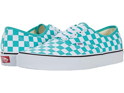 Vans Authentic ((Checkerboard) Waterfall/True White) Skate Shoes