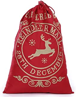 Large Christmas Bags Santa Sacks ~ Reusable Cotton Sack Designs - Red & Gold Reindeer Mail Design - 27