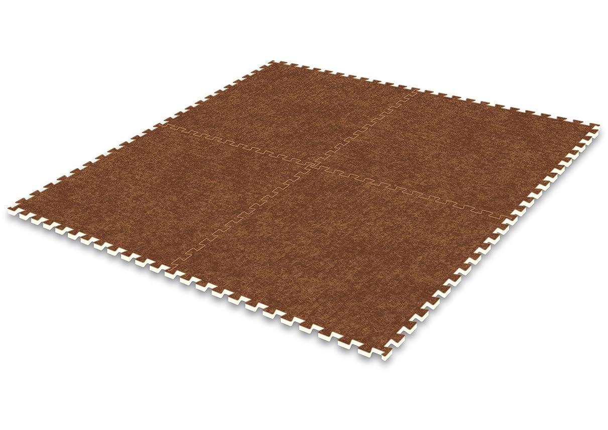 掘るエクスタシーマーキーMEIWA ジョイントマット パンチ調 4枚入 ブラウン サイズ(60cm×60cm×厚さ8mm) JPM-60