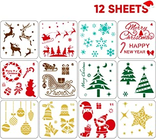 12 PCS Reusable Christmas Stencils for Painting on Wood Glass Door Car Body Journaling Scrapbook Xmas Snowflake DIY Craft Decoration 5x5 inch
