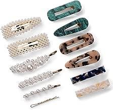 12 Pcs Women's Hair Clips Acrylic Resin Marble Alligator Hair Clip Faux Pearl Hair Pins Gold Base Hairpin Wedding Daily Fashion Hair Barrettes Katloo