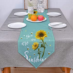 COLORSUM Linen Burlap Table Runner Dresser Scarves Rustic Sunflower Bees You are My Sunshine Emerald Home Dining Table Decor Table Runner Mat for Farmhouse, Wedding, Party, BBC-13 x 120 Inch