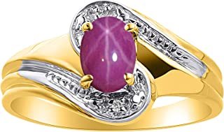 Diamond & Star Ruby Ring Set In Yellow Gold Plated Silver - Color Stone Birthstone Ring