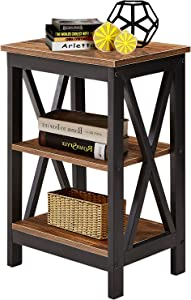 VECELO Modern Night Stand/Sofa Side/End Storage Shelf X-Design Versatile Nightstands Lamp Table Living Room Bedroom Furniture,Easy Assembly, Antique Brown
