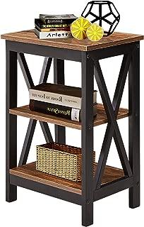VECELO /Sofa Side/End Storage Shelf X-Design Versatile Nightstands Lamp Table Living Room Bedroom Furniture,Easy Assembly, Brown