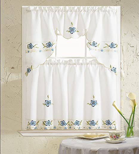 B H Home Aster Floral Embroidered 3 Piece Kitchen Curtain Window Treatment Blue Home Kitchen