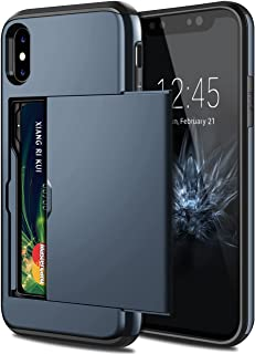 SAMONPOW iPhone X Case, iPhone 10 Case,Hybrid iPhone X Wallet Case Card Holder Shell Heavy Duty Protection Shockproof Anti Scratch Soft Rubber Bumper Cover Case for iPhone X 5.8 inch Dark Blue