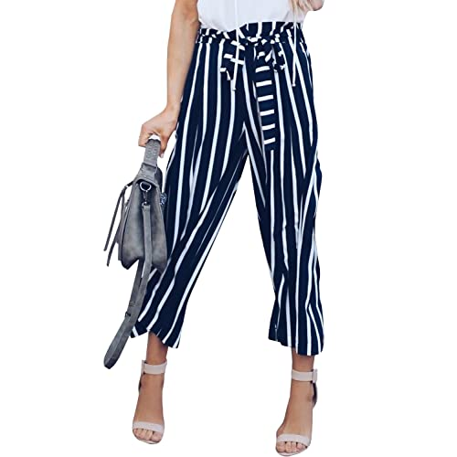 412cb79a06 SySea Womens Striped High Waisted Straight Leg Long Loose Flowy Pants  Capris Belted