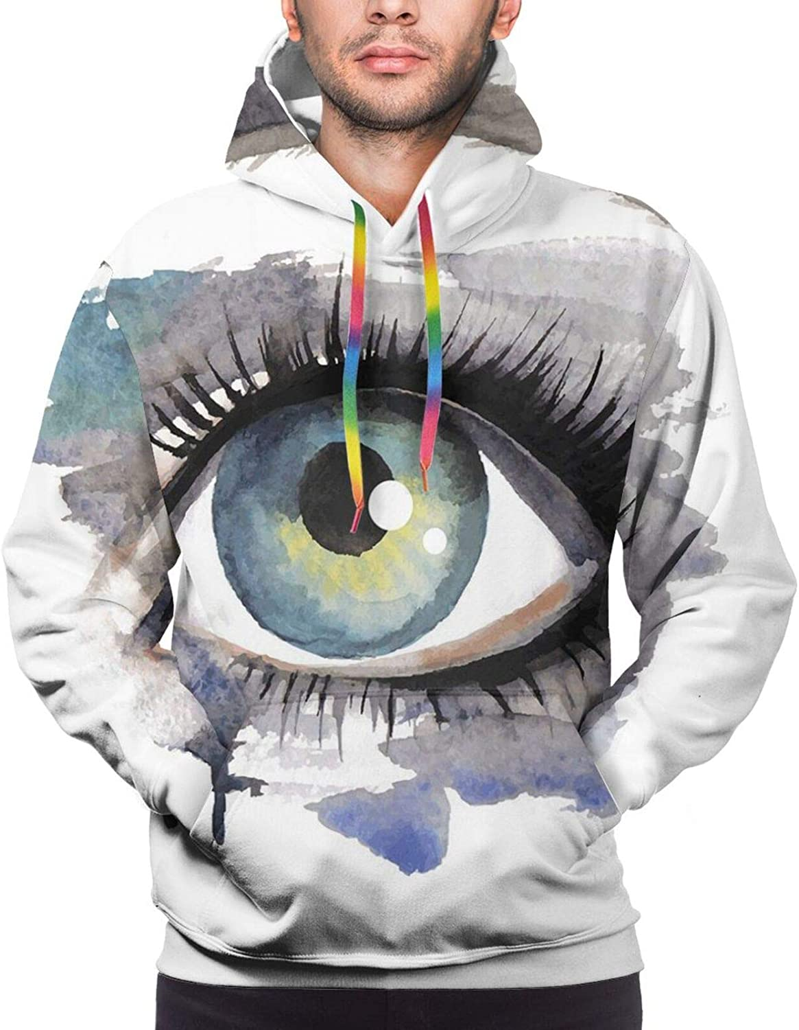 Men's Hoodies Sweatshirts,Hand Painted Style Round Shapes Pattern in Different Pastel Colors Abstract Design