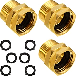 3 Packs 3/4 Inch GHT Female to NPT Male Connector, GHT to NPT Adapter Brass Garden Hose Connector Adapter Fitting to Pipe Fittings Connect with 6 Packs Extra Rubber Washer (3/4 Inch NPT Male)