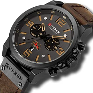 Fashion Mens Watch Leather Military Stopwatch Waterproof Chronograph Watch Mens Quartz Watch with...