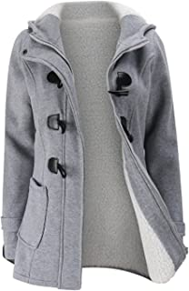 SZIVYSHI Thick Warm Full Fleece Lined Hooded Hoodie Cotton Duffle Coat Jacket Top Pocket Buffalo Horn Buttons Zip Closure