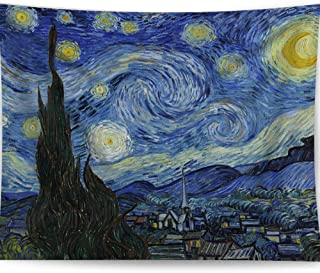 HAOCOO Starry Night Tapestry, Van Gogh Abstract Painting Wall Art 3D Blue Wall Hanging Tapestry Home Decor for Bedroom Living Room Dorm Apartment 51