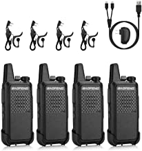 BAOFENG GT-22 FRS License Free Two-Way Radio, 2W 1500mAh Battery, Handsfree Portable Walkie Talkie, Micro USB Charging, headsets, 4 Pack