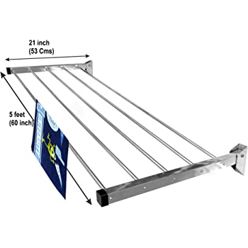 Homwell Stainless Steel Heavy Duty 5 Pipe X 5 Feet Wall Mounted Cloth Dryer Stand Foldable Hold N Dry