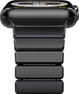 [UPGRADED] Oittm Watch Band for Apple Watch Series 4, 44mm/42mm Stainless Steel Replacement Strap Link Bracelet Metal iWatch Band with Double Button Folding Clasp for Apple Watch 4/3/2/1 (Space Black)