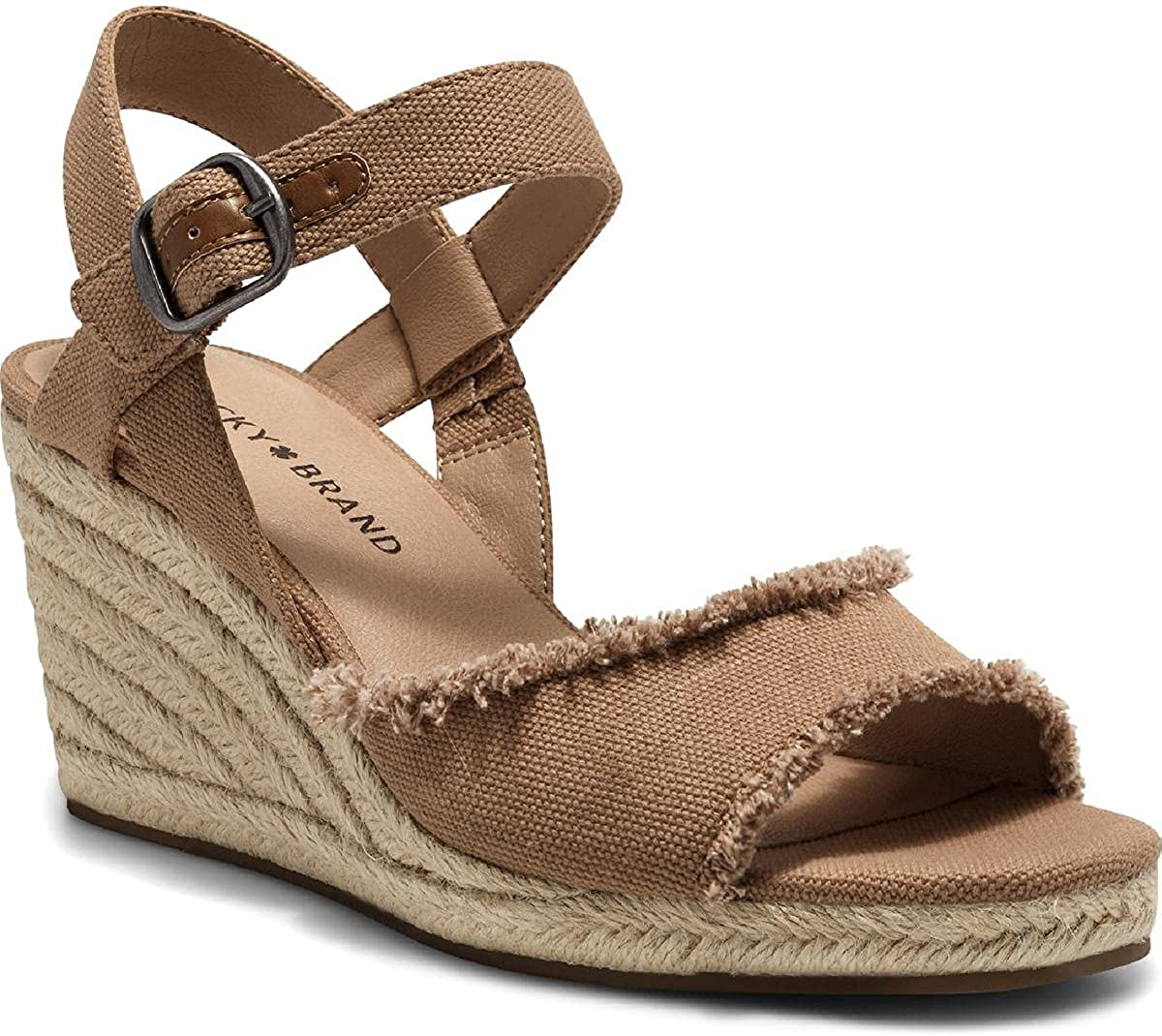 Lucky Luxury Brand OFFicial store Mindra Distressed Canvas Wedge S Platform Espadrille