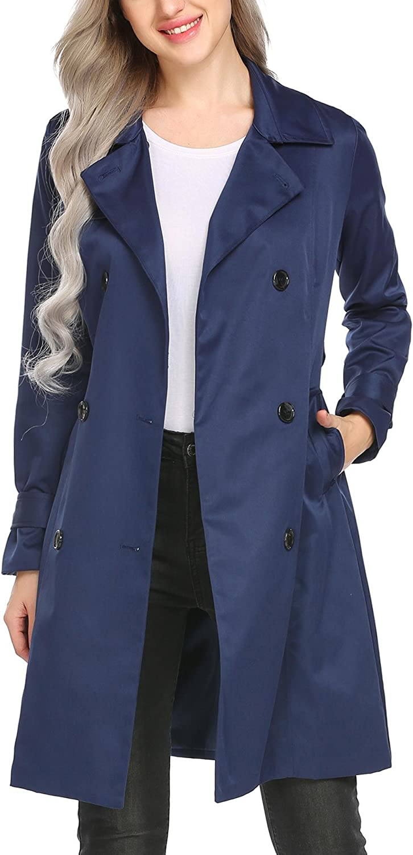 BURLADY Women's Outwear Casual DoubleBreasted Long Trench Coat Belt
