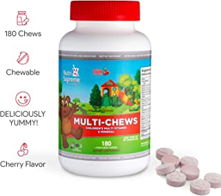 Delicious Kids Multivitamin, 180 Vegetarian Gummies – Complete Children's Supplement with Essential Vitamins and Minerals - Vitamin A, B, C, D3, Calcium, Iron, Folic Acid, Zinc – Cherry Flavor
