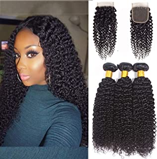 Brazilian Curly Bundles with Closure 100% Unprocessed Brazilian Virgin Human Hair Kinky Curly Weave Weft with 4x4 Lace Closure Natural Color (22 24 26+20)