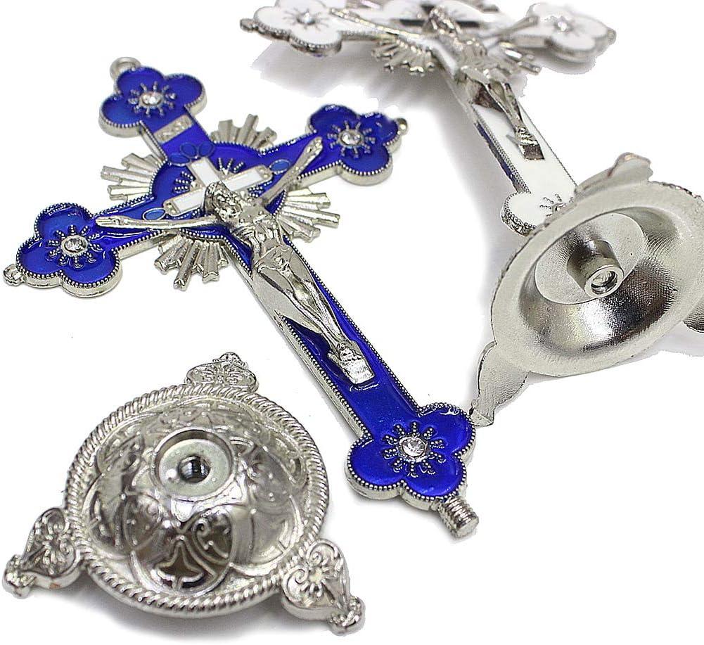 WE-WHLL Reliquias de la Iglesia Jes/ús en el Soporte Crucifijo de Pared Cruzada Decoraci/ón Antigua de la Capilla del hogar Blanco