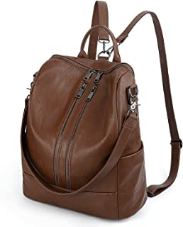 UTO Women Backpack Purse PU Washed Leather Convertible Ladies Rucksack Double Zipper Pockets with Shoulder Strap Brown
