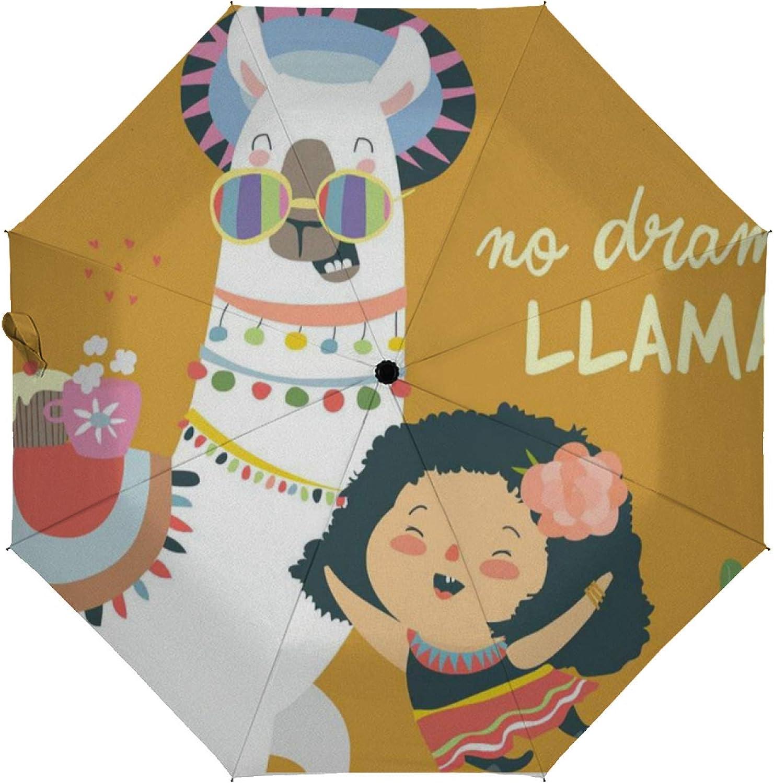 Automatic Folding Umbrella Three-f Max 76% OFF Cute Reservation Llama