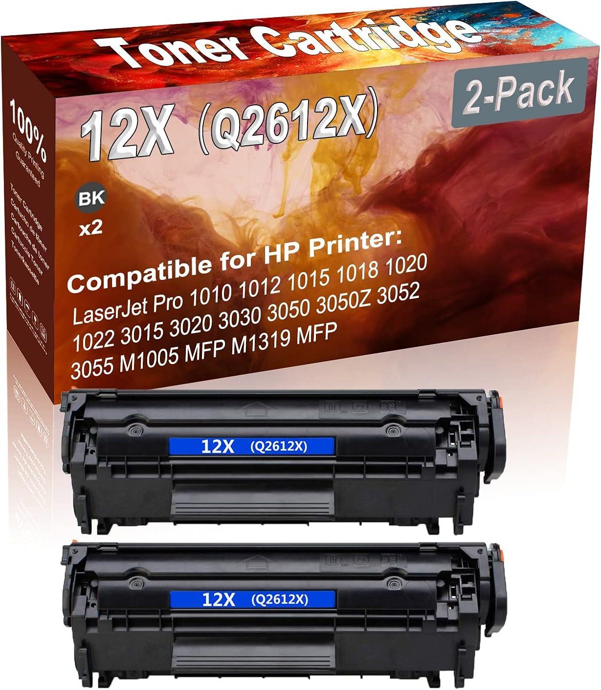 2-Pack (Black) Compatible 12X (Q2612X) Printer Toner Cartridge (High Capacity) fit for 1010 1012 1015 1018 1020 1022 3015 3020 3030 3050 3050Z 3052 3055 M1005 MFP M1319 MFP Printer