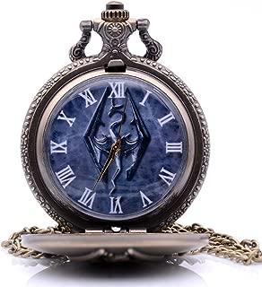 Vintage Antique Cosplay The Elder Scrolls V Skyrim Mens Womens Quartz Pocket Watch Analog Pendant Necklace Chain Xmas Gifts (Bronze)