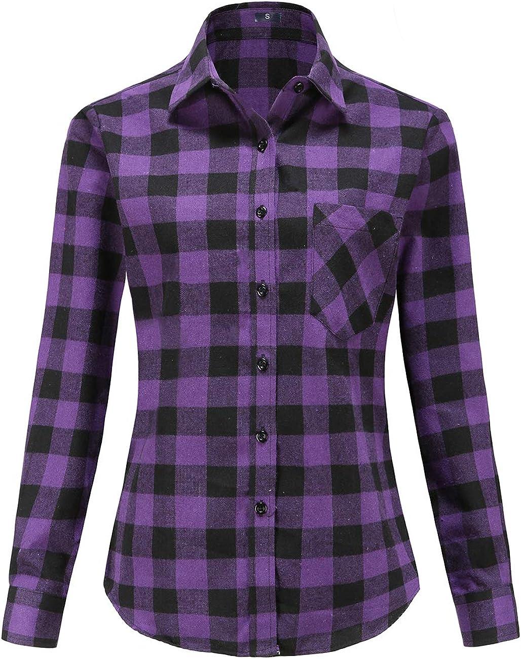 Women Buffalo Flannel Plaid Shirts Long Sleeve Button Down Blouses