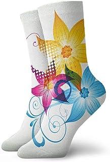 tyui7, Calcetines de compresión de flores coloridas antideslizantes Calcetines de atletismo acogedores de 30 cm para hombres, mujeres, niños