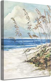 Abstract Beach Wall Art Picture: Blue Ocean Artwork Seaside Painting Print on Canvas for Office (24'' x 18'' x 1 Panel)