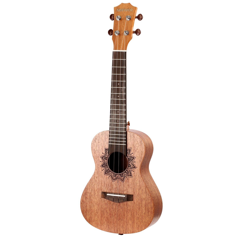 Neewer 21 Pulgadas Ukulele de cuerpo de palo de rosa y diapasón de palo rosa con 4 cadenas de carbono, Ideal para el amante de la música y principiantes: Amazon.es: Instrumentos musicales