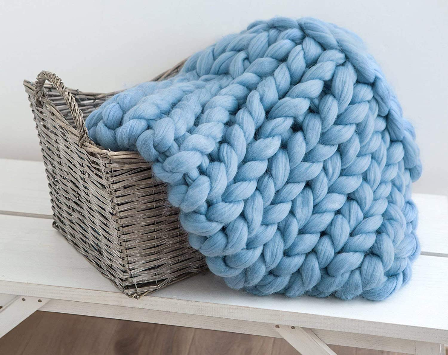 Chunky Knit Blanket Merino Wool free shipping Hand Bedroom 70% OFF Outlet Hom Throw Boho Made