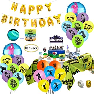 Game Party Supplies for Video Gamer, 107 pcs Gaming Theme Party Decorations - including Balloons, Table Cover, Bracelets, Cake Toppers and Sticker