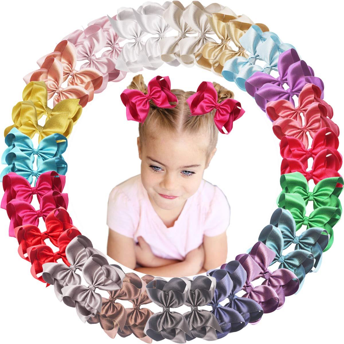 40PCS Baby Girls Glitter Grosgrain Bows Clips Ribbon 4.5Inc Phoenix Mall Direct store Hair