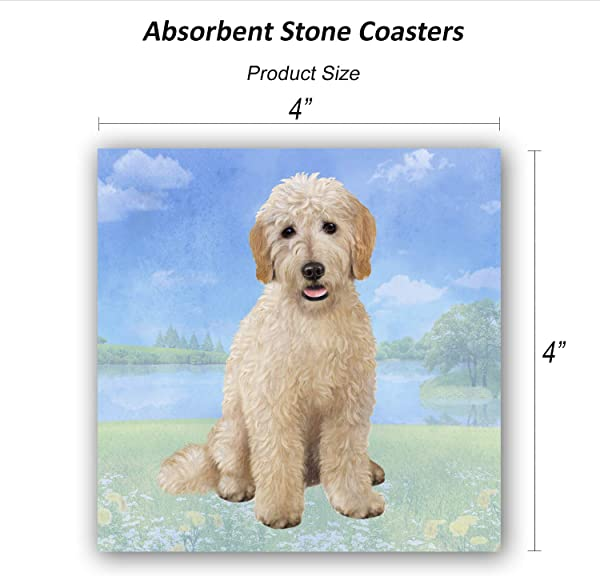 Goldendoodle Sitting Tabletop Drink Coaster 1