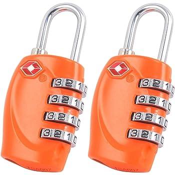 ROSA Garant/ía de por vida 4-dial combinaci/ón de viaje maleta de equipaje bloqueo de c/ódigo 2 x TSA Candado de seguridad