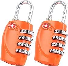 Candado con combinaci/ón num/érica con Cable para Mochilas y Maletas Aprobado por la TSA 1 Paquete con Candado Naranja